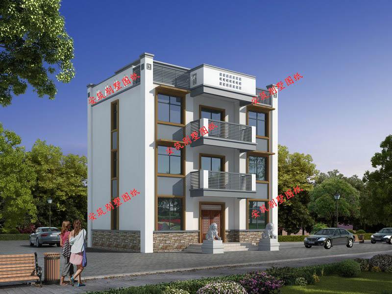 三层平顶新中式小别墅设计图,安筑.
